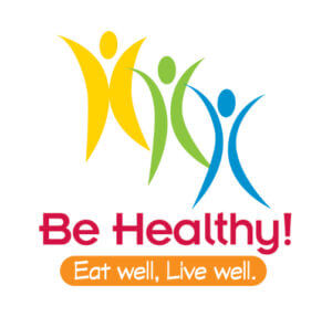 Image of 3 silhouettes with a bold message: Be healthy, eat well.