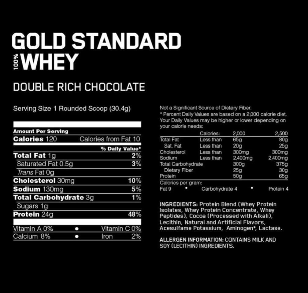 Gold Standard 100% Whey Protein Powder Double Rich Chocolate Ingredients