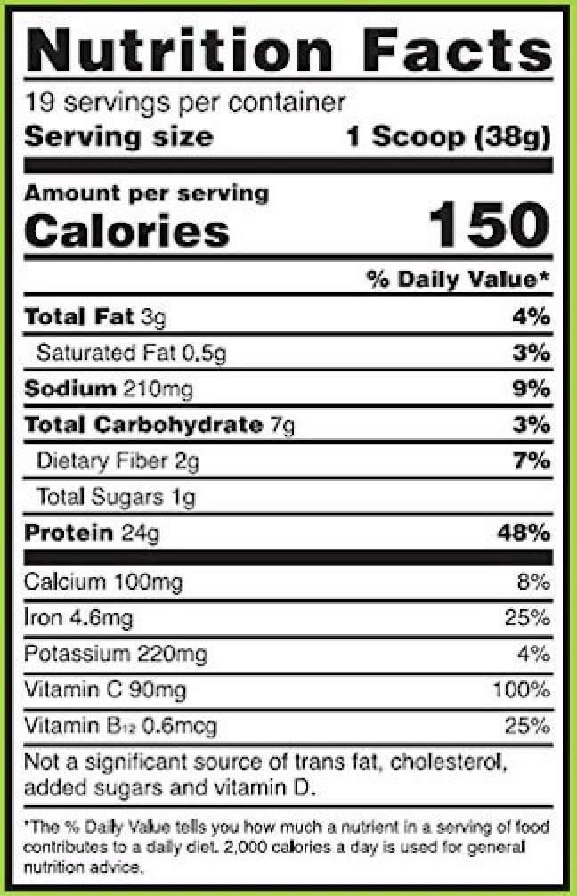 Gold Standard 100% Plant Based Protein Powder Ingredients