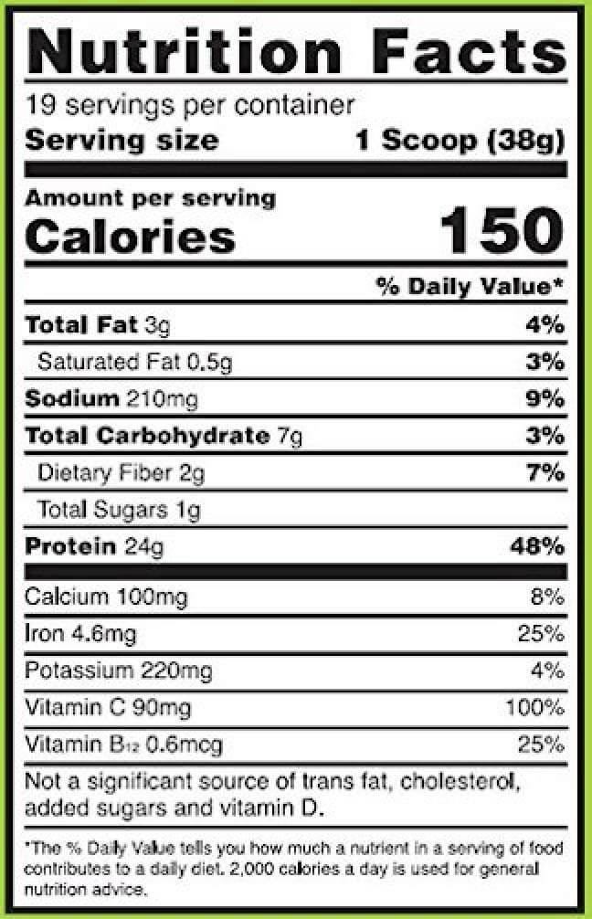 Gold Standard 100% Plant Based Protein Powder Ingredients